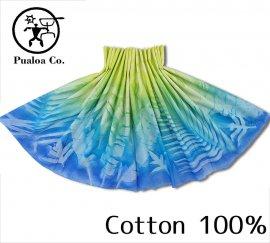 ボーゾー パウスカート リーフ イエロー-ブルー(Cotton100%)