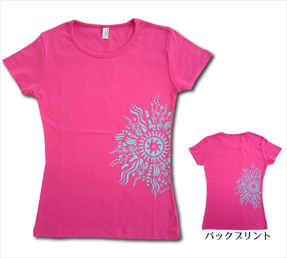 オリジナルTシャツ ラー・リノ トロピカルピンク−ライトブルー