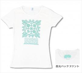 オリジナルTシャツ アイランドフラワー ホワイト-Pグリーン
