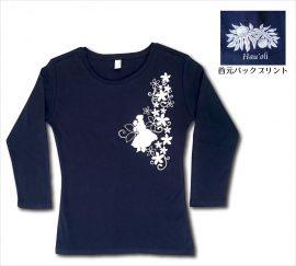 オリジナル7分袖Tシャツ フラガール5 ネイビー−ホワイト
