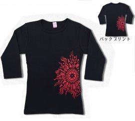 オリジナル7分袖Tシャツ ラー・リノ ブラック-レッド