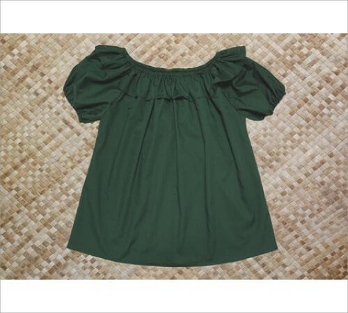 ブラウス 襟フリル付 緑 サイズP