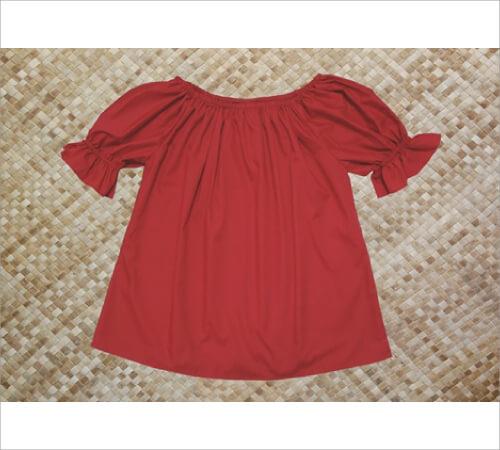ブラウス 袖フリル付 赤 サイズP