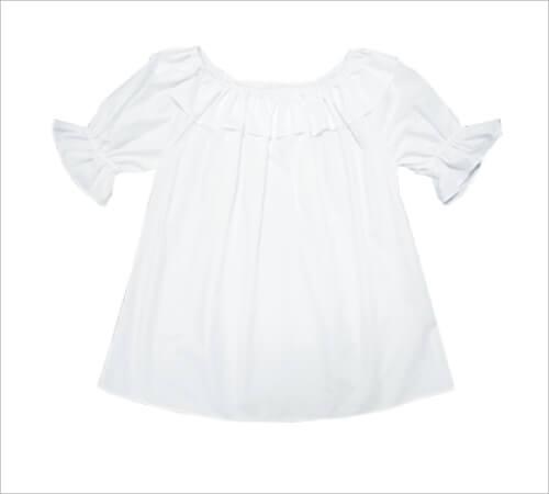 ブラウス 襟・袖フリル付白 サイズP