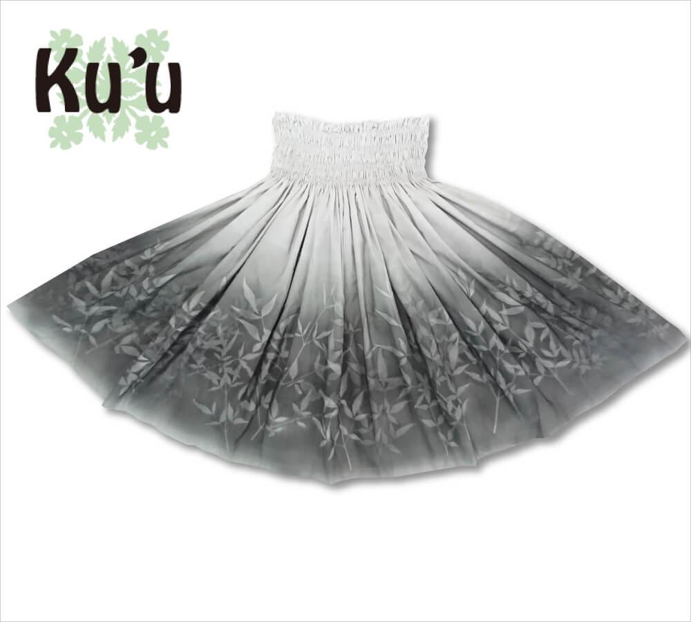 ku'u手染めパウスカート ヘブンリーバンブー ホワイト-CHグレー 72cm