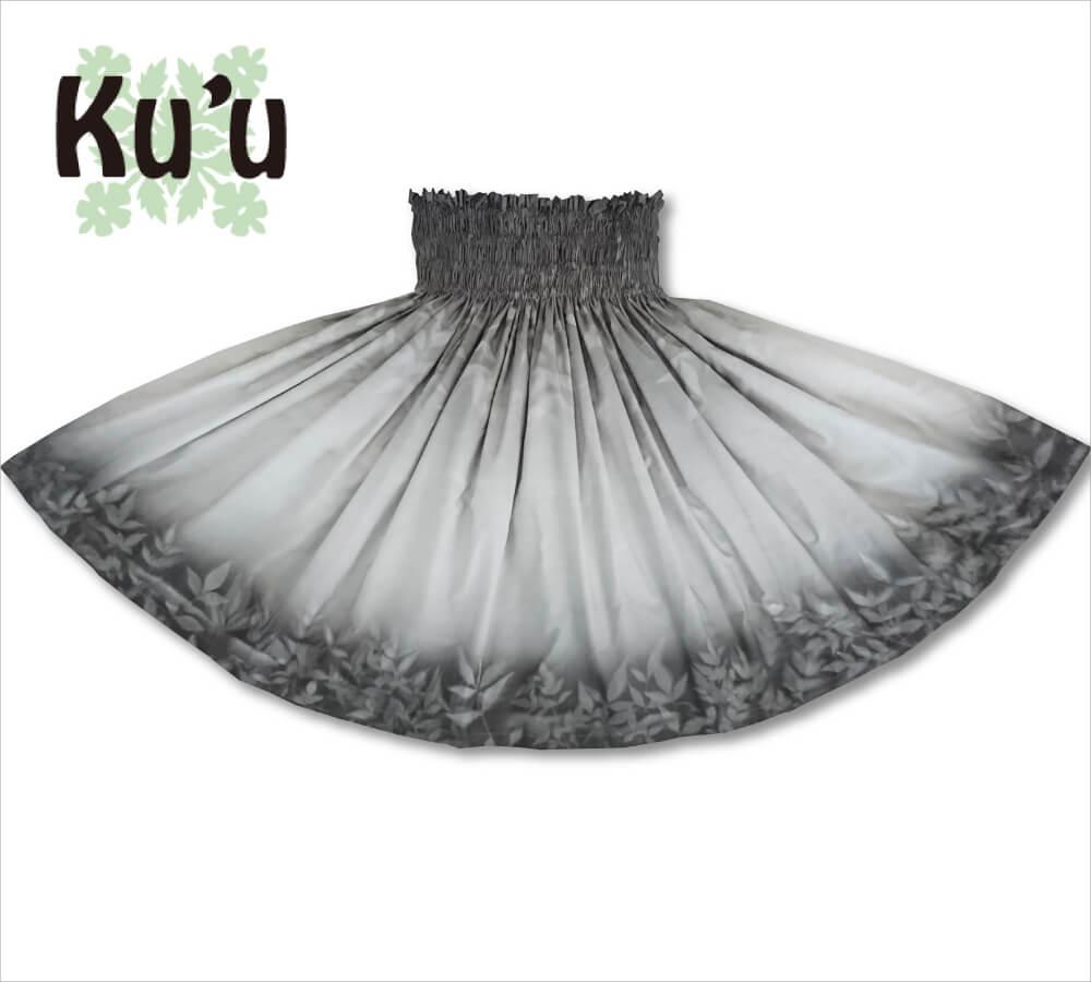 ku'u手染めパウスカート ヘブンリーバンブー ホワイト-CHグレー 70cm