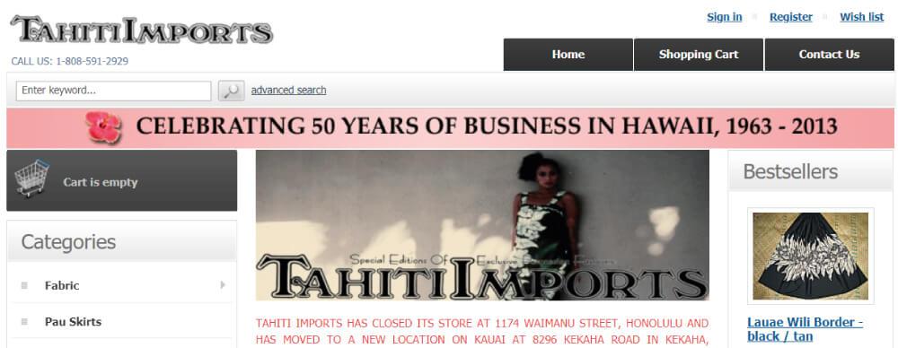 Tahiti Importsホームページ