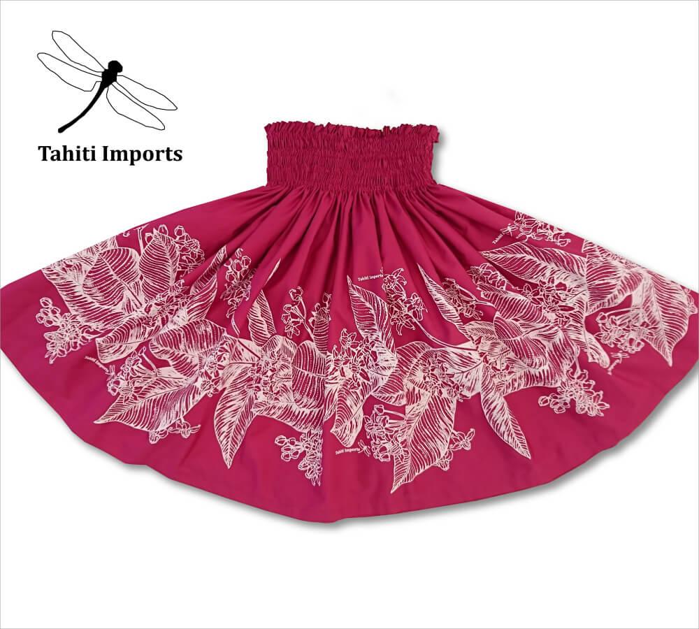 タヒチインポーツパウスカート クラウンフラワー ディープローズ-ホワイト