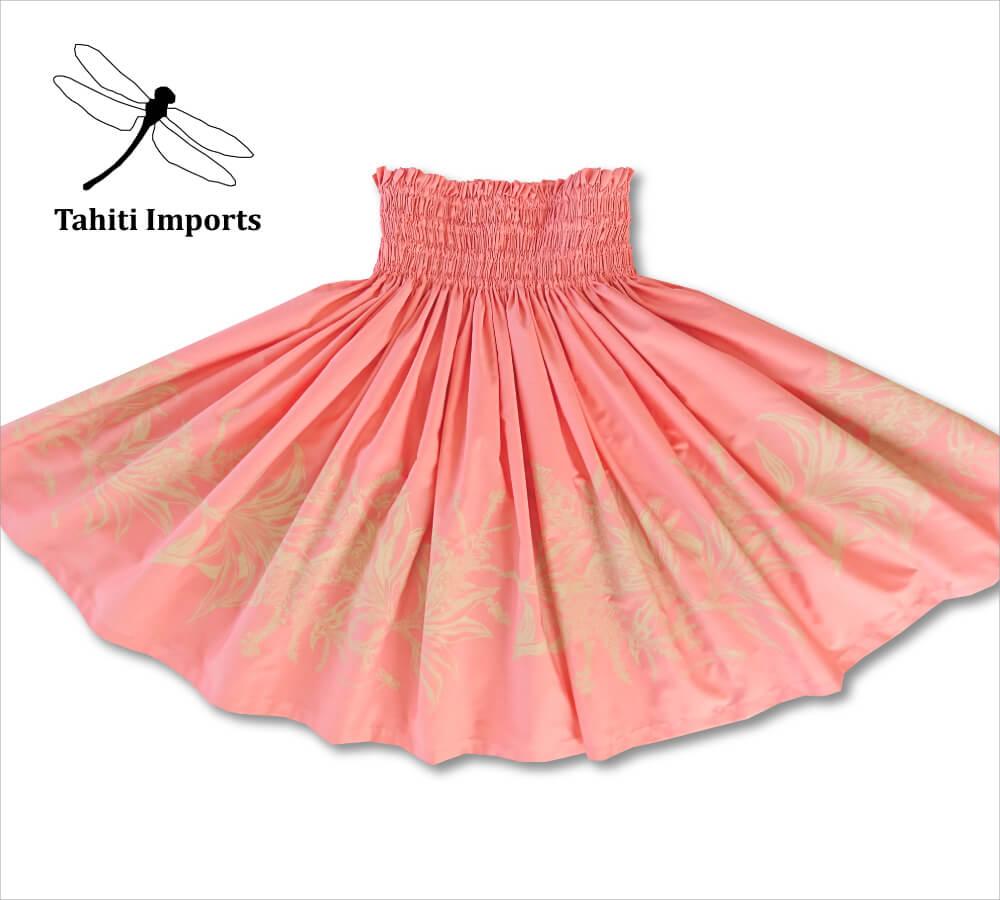 タヒチインポーツパウスカート ティリーフボーダー コーラル-タン