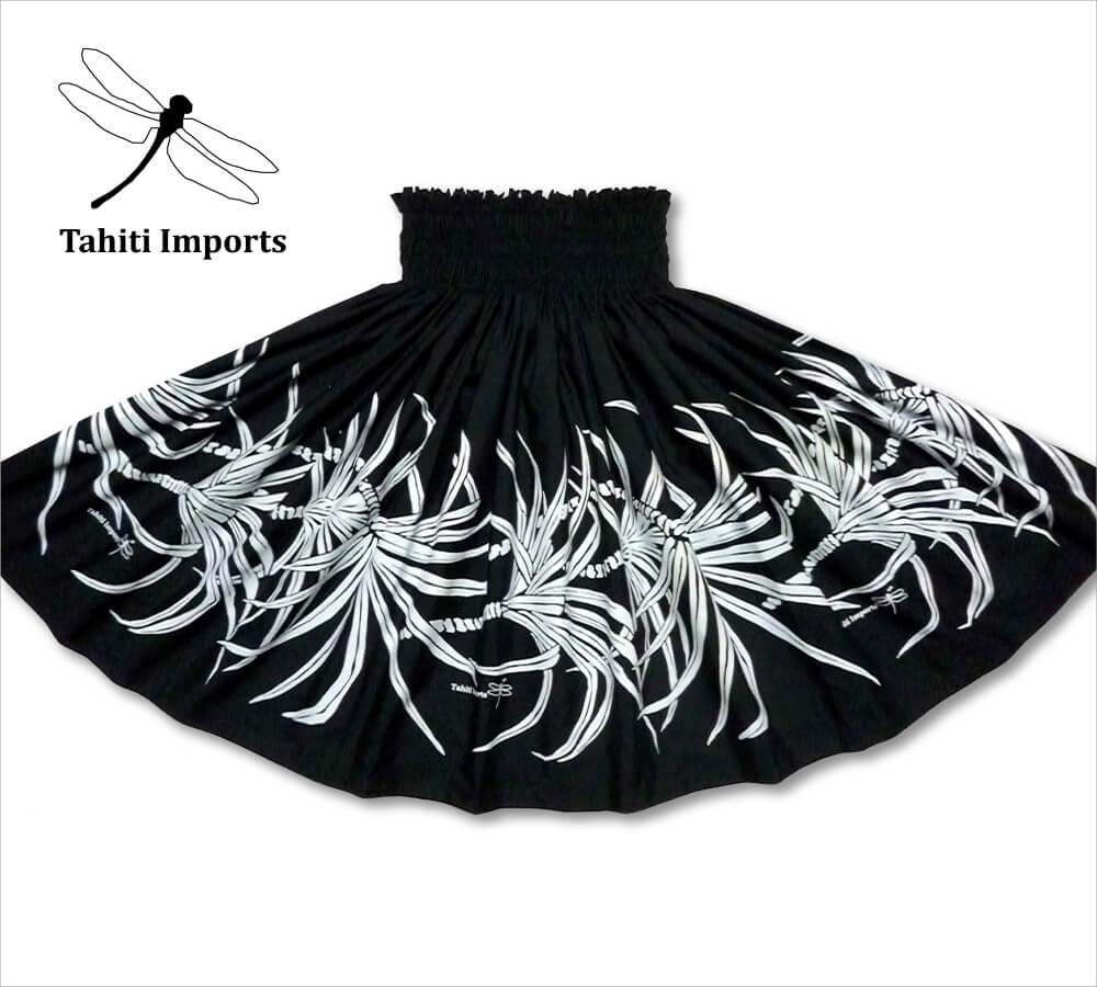 タヒチインポーツパウスカート パンダナスボーダー ブラック−ホワイト