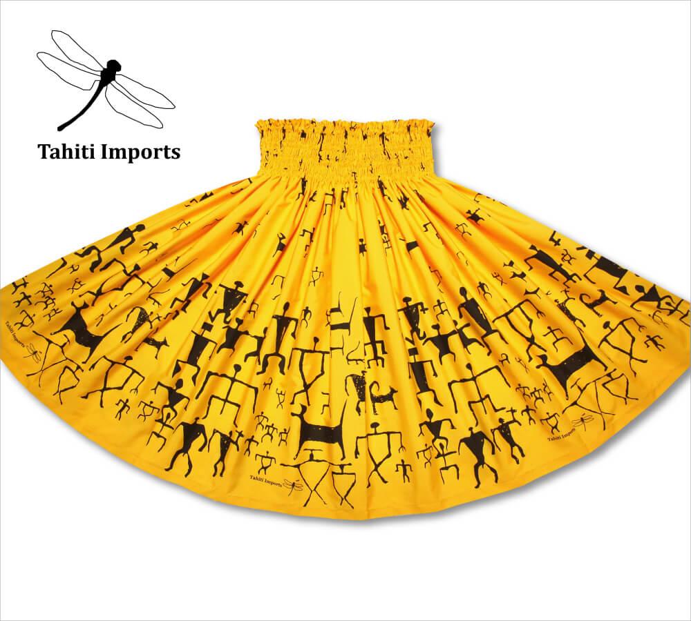 タヒチインポーツパウスカート ペトログリフ ブライトイエロー−ブラック