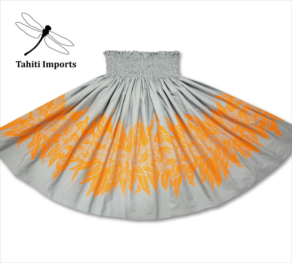タヒチインポーツ パウスカート ラウアエウィリボーダー シルバー−キャロット