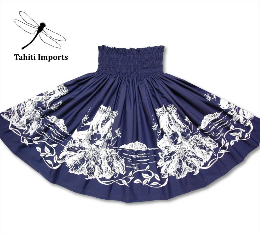 タヒチインポーツパウスカート フラノホボーダー インディゴ−ホワイト