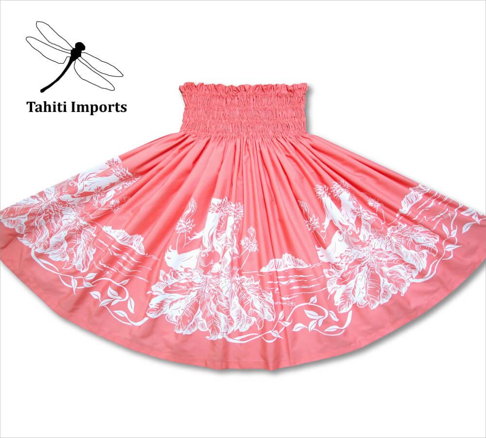 タヒチインポーツパウスカート フラノホボーダー コーラル−ホワイト