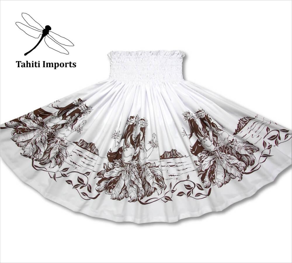 タヒチインポーツ パウスカート フラノホボーダー ホワイト−ブラウン