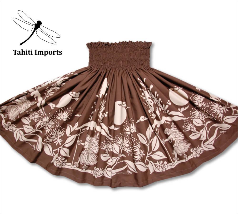 タヒチインポーツパウスカート カラアウダンサー ブラウン-タン