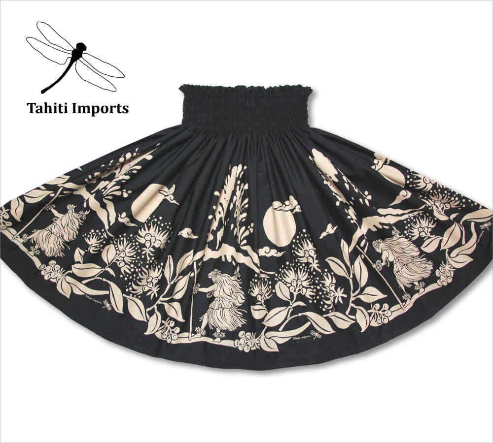 タヒチインポーツ パウスカート カラアウダンサー ブラック−タン