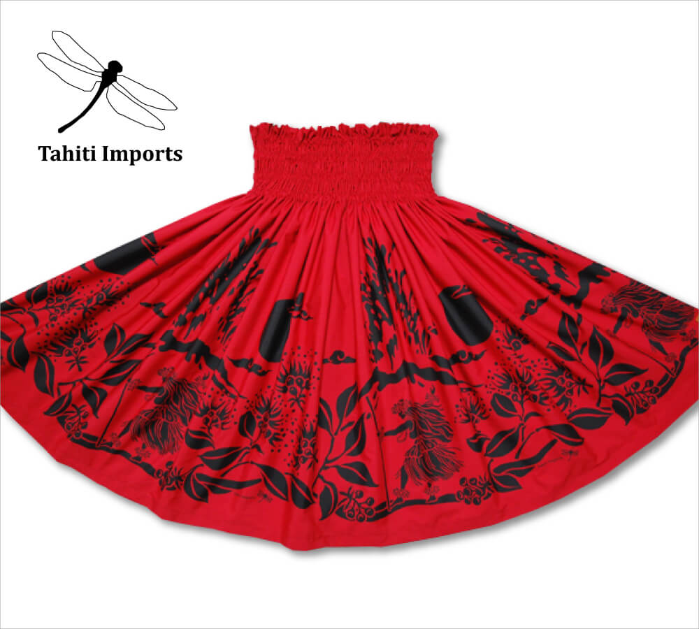 タヒチインポーツパウスカート カラアウダンサー レッド-ブラック