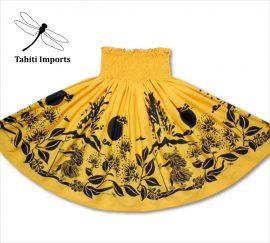 タヒチインポーツパウスカート カラアウダンサー ブライトイエロー-ブラック