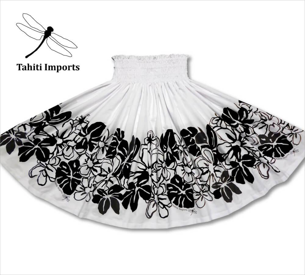 タヒチインポーツパウスカート ナニアリイボーダー ホワイト−ブラック