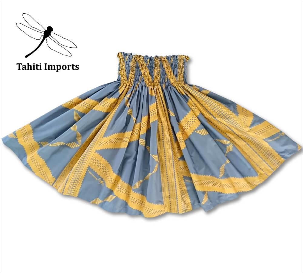タヒチインポーツパウスカート タパ チャコール-マスタード