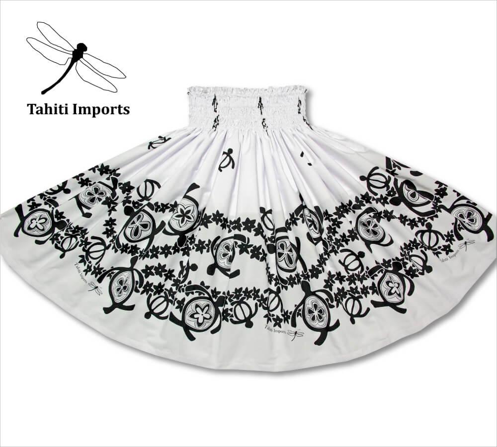 タヒチインポーツ パウスカート ホヌボーダー ホワイト−ブラック