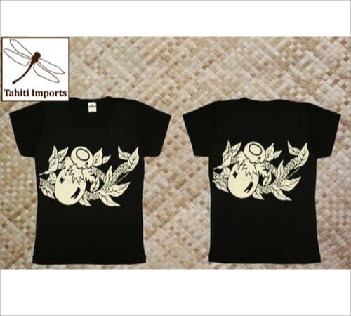 タヒチインポーツTシャツ イプ ブラック−クリーム