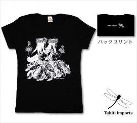 タヒチインポーツTシャツ フラノホ ブラック−ホワイト