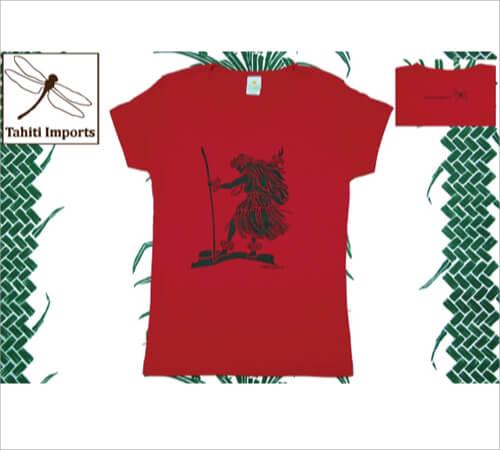 タヒチインポーツTシャツ カラアウダンサー レッド-ブラック