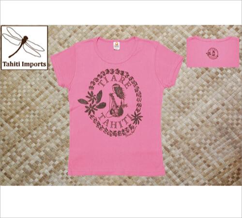 タヒチインポーツTシャツ ティアレタヒチ ウォーターメロン−ブラウン